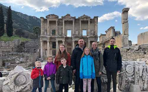 The Hills visiting a historical landmark in Ephesus.
