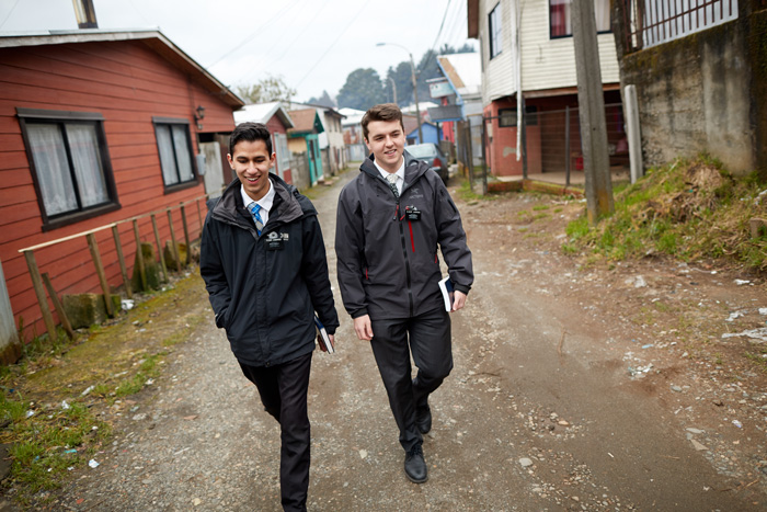 Two missionaries walking
