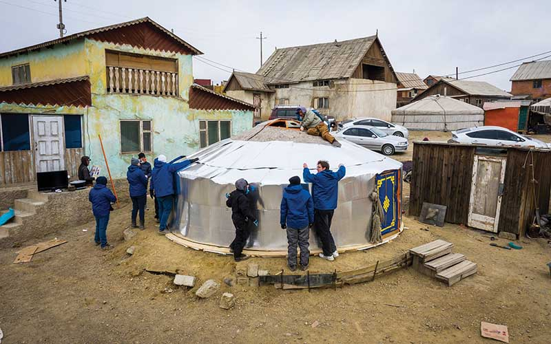 BYU students working on ger in Mongolia