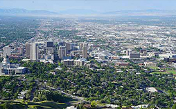 Overview of downtown Salt Lake City with Ensign College's location shown.