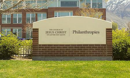 Philanthropies sign in front of the building